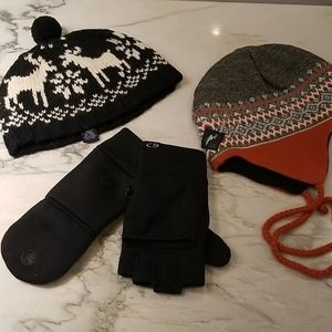 3 piece cold weather accessories 2 hats & gloves